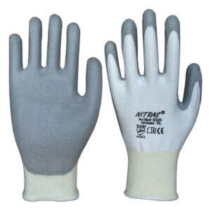 Schnittschutz-Handschuh weiss/grau mit PU-Beschichtung, Nitras 6305