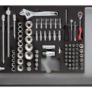 Werkzeugsatz Einsätze, Knarre, Zubehör 1/4″-1/2″ 84-teilig