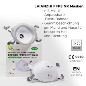 FFP3 Feinstaubmaske mit Ventil Laianzhi Box à 10 Stk EN149:2001+A1:2009